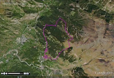 Imagen GoogleEarth - Entrenando por Espacs desde Cerler.