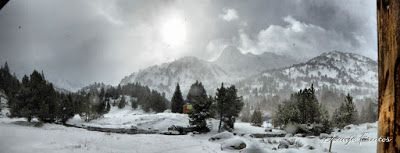 Panorama1 fhdr - Y esquiamos hasta Llanos del Hospital desde La Besurta, Valle de Benasque.